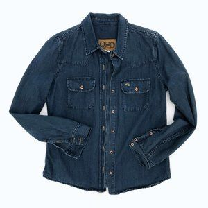 QSD QUICKSILVER Women's Dark Wash Denim Shirt Lg